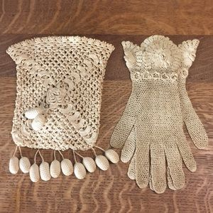 Antique Irish Drawstring Crochet Lace Bag & Gloves